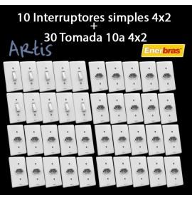 Kit 10 Interruptor Simples + 30 Tomada 10A - Artis