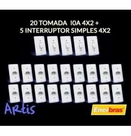 Kit 20 Tomada 10a + 5 Interruptores Simples/ Linha Artis