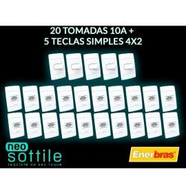 Kit 25 Peças - 20 Tomadas 10A + 5 Interruptores simples 4x2 - Enerbras Neo Sottile