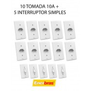 Kit 5 Interruptor Simples + 10 Tomadas 10a / Linha Artis Casa Completa