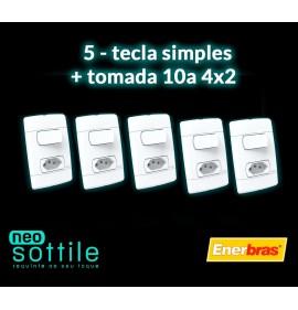 Kit 05 Peças - Conjunto Interruptor Simples + Tomada 10a - Enerbras Neo Sottile