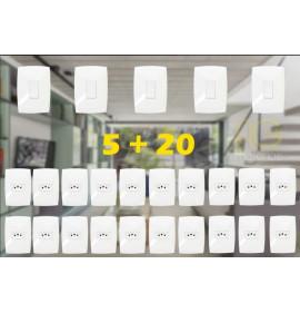 Kit 20 Tomadas 20a + 5 Interruptores simples Modular Casa Completa - (HOME BRANCA)