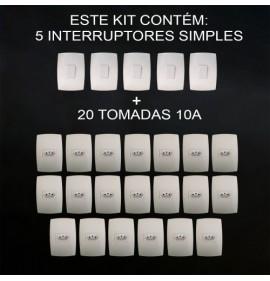 Kit 20 Tomadas 10a + 5 Interruptores Simples - HOME BRANCA
