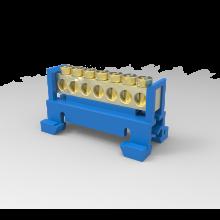 Barramento 7 Polos com Suporte para trilho DIN Azul Neutro