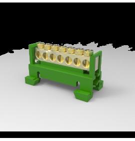 Barramento 7 Polos com Suporte para trilho DIN Verde Terra