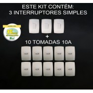 Kit 10 Tomadas 10A + 3 Interruptores Simples - Modular - HOME BRANCA