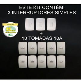 Kit 10 Tomadas 10A + 3 Interruptores Simples - Modular - (HOME BRANCA)