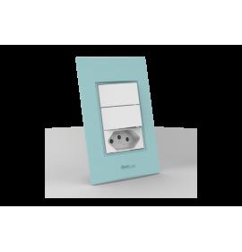 Conjunto 2 Interruptores Simples + Tomada 10A - Beleze Verde Pastel