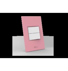 Conjunto Interruptor Duplo Simples - Beleze Rosa Pastel