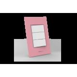 Conjunto Interruptor Triplo Simples - Beleze Rosa Pastel