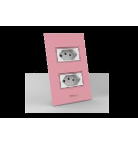 Conjunto Tomada Dupla 10A - Beleze Rosa Pastel
