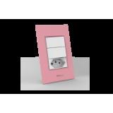 Conjunto 2 Interruptores Simples + Tomada 10A - Beleze Rosa Pastel