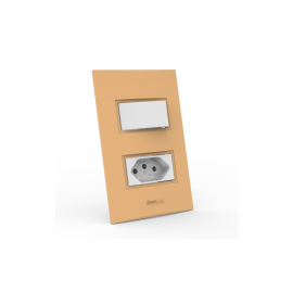 Conjunto 1 Interruptor Simples + Tomada 20A - Beleze Laranja Pastel