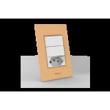 Conjunto 2 Interruptores Simples + Tomada 10A - Beleze Laranja Pastel
