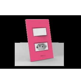 Conjunto 1 Interruptor Simples + Tomada 20A - Beleze Rosa