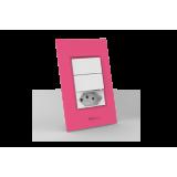 Conjunto 2 Interruptores Simples + Tomada 10A - Beleze Rosa