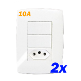 Kit 2 Interruptores Duplo Simples + Tomada 10a - Blux Home