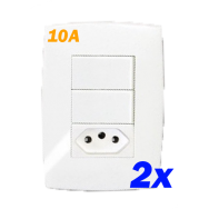 Kit 2 Interruptores Duplo Paralelos + Tomada 10a - Blux Home