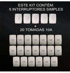 Kit 20 Tomadas 10A + 5 Interruptores Simples - Modular Casa Completa - (HOME BRANCA)