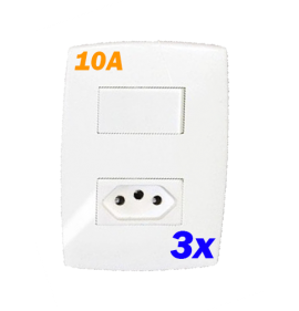 Kit 3 Conjuntos interruptor Simples + Tomada 10a - Blux Home