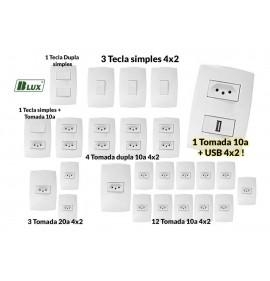 Kit Interruptores E Tomadas (25 Pçs) Casa Completa + Usb - (HOME BRANCA)