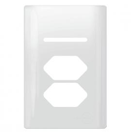 Placa para 1 tecla + 2 tomadas 4x2 - Novara Branco Brilhante