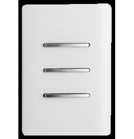 Conjunto Interruptor Triplo Simples 4x2 - Novara Branco Brilhante Cromado