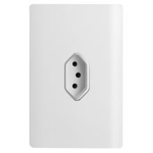 Conjunto Tomada Vertical 10A 4x2 - Novara Branco Brilhante Cromado