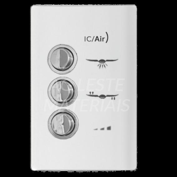 Conjunto Controle Ventilador - Novara Branco Brilhante Cromado 127v