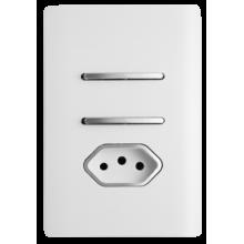 Conjunto Interruptor Duplo Paralelo + Tomada 10A 4x2 - Novara Branco Brilhante Cromado