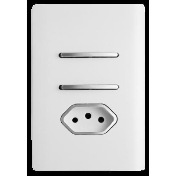 Conjunto Interruptor Duplo Simples + Tomada 10A 4x2 - Novara Branco Brilhante com Cromado