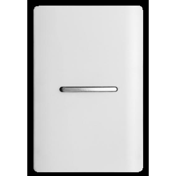 Conjunto Interruptor Simples Horizontal 4x2 - Novara Branco Brilhante Cromado