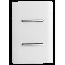 Conjunto Interruptor Duplo Paralelo 4x2 - Novara Branco Brilhante Cromado