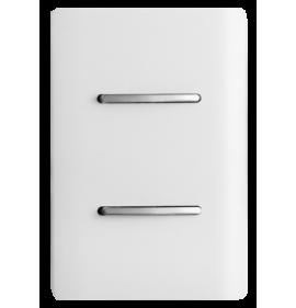 Conjunto Interruptor Duplo Simples 4x2 - Novara Branco Brilhante Cromado