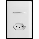 Conjunto Interruptor Simples + Tomada 10A 4x2 - Novara White