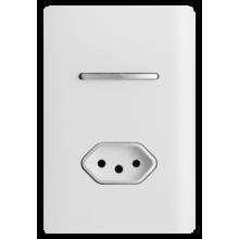 Conjunto Interruptor Paralelo + Tomada 20A 4x2 - Novara Branco Brilhante Cromado