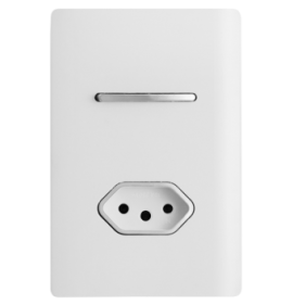 Conjunto Interruptor Simples + Tomada 10A 4x2 - Novara Branco Brilhante Cromado
