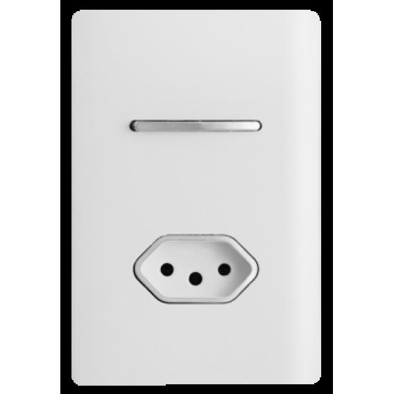 Conjunto Interruptor Simples + Tomada 20A 4x2 - Novara Branco Brilhante Cromado