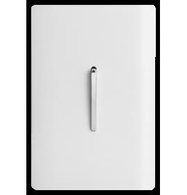 Conjunto Interruptor Simples Vertical 4x2 - Novara Branco Brilhante Cromado