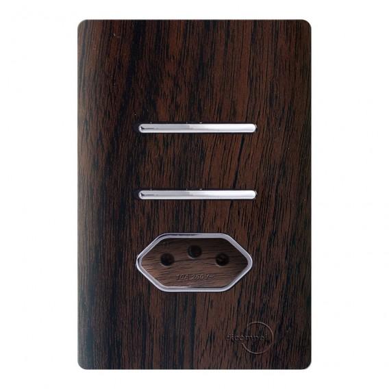 Conjunto Interruptor Simples + Paralelo + Tomada 10A - Novara Especiais Tabaco