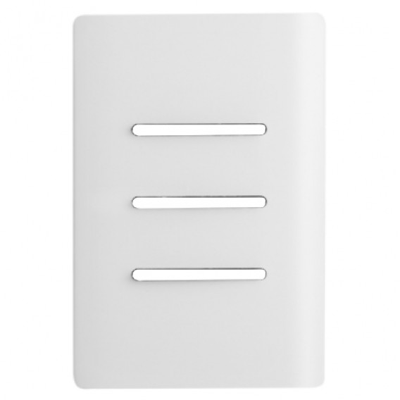 Placa p/ 3 Interruptores Horizontais + Suporte 4x2 - Novara Branco Brilhante