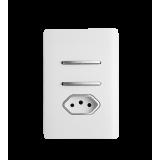 Conjunto Interruptor Duplo Simples + Tomada 10A 4x2 - Novara White