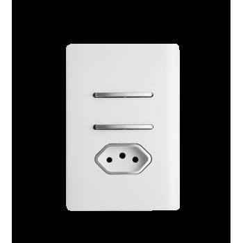 Conjunto Interruptor Simples + Paralelo + Tomada 20A 4x2 - Novara White