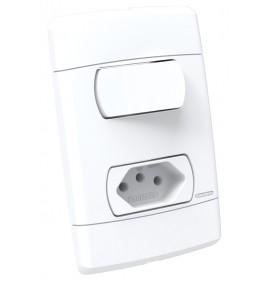 Conjunto Interruptor Simples + Tomada 10a - Enerbras Neo Sottile