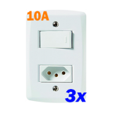 KIT 3 INTERRUPTORES SIMPLES COM TOMADA 10A TRAMONTINA LUX2
