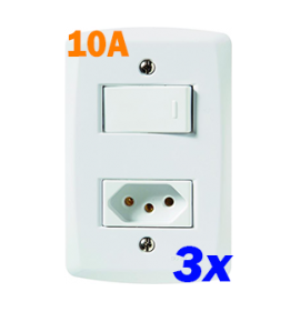 KIT 3 Interruptores simples + tomada 10A 4x2 - Tramontina Lux2