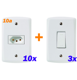 Kit 10 Tomadas 10A + 3 Interruptor Simples - Tramontina LUX2