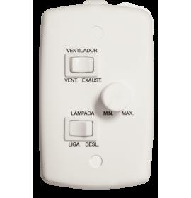 Conjunto Controle Ventilador 2 Teclas + 1 Dimmer 127V 6A