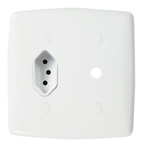 Conjunto 1 Tomada 20A + Conector para Antena 4x4 - Mônaco