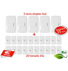 Kit 20 Tomadas 10a + 5 Interruptores Simples - (HOME BRANCA)